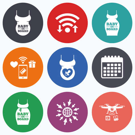 big belly: Wifi, mobile payments and drones icons. Baby on board icons. Infant caution signs. Child pacifier nipple. Pregnant woman dress with big belly. Calendar symbol.