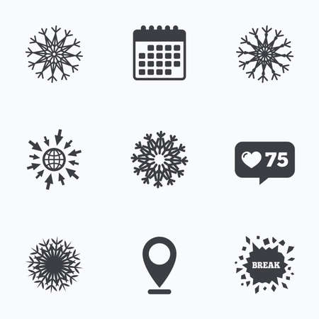 new year counter: Calendar, like counter and go to web icons. Snowflakes artistic icons. Air conditioning signs. Christmas and New year winter symbols. Location pointer.