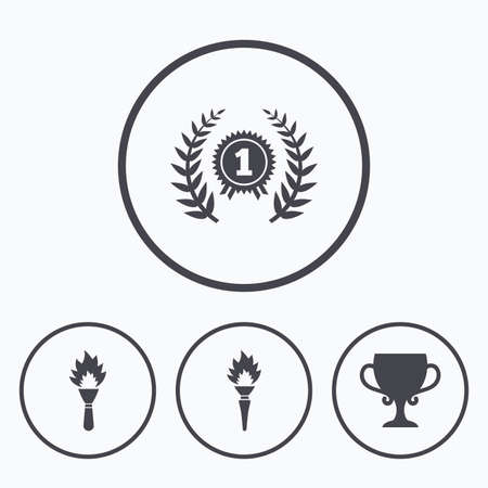 fire place: First place award cup icons. Laurel wreath sign. Torch fire flame symbol. Prize for winner. Icons in circles. Illustration