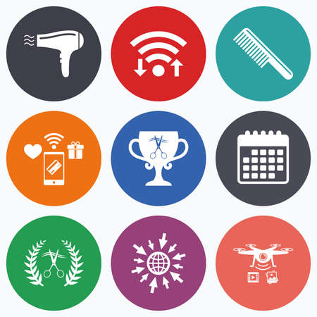 comb hair: Wifi, mobile payments and drones icons. Hairdresser icons. Scissors cut hair symbol. Comb hair with hairdryer symbol. Barbershop laurel wreath winner award. Calendar symbol. Illustration