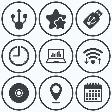 ultrabook: Clock, wifi and stars icons. Usb flash drive icons. Notebook or Laptop pc symbols. CD or DVD sign. Compact disc. Calendar symbol.
