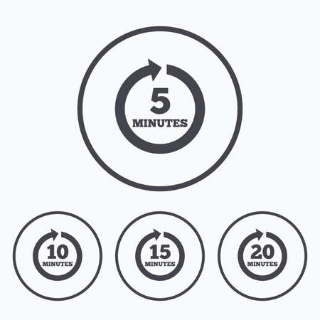 iterative: Every 5, 10, 15 and 20 minutes icons. Full rotation arrow symbols. Iterative process signs. Icons in circles.