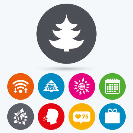 new year counter: Wifi, like counter and calendar icons. Happy new year icon. Christmas trees and gift box signs. World globe symbol. Human talk, go to web.