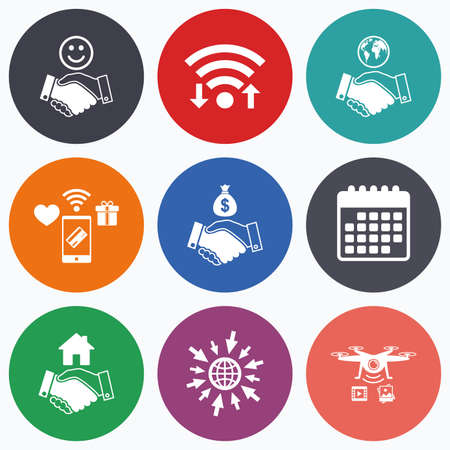 amicable: Wifi, mobile payments and drones icons. Handshake icons. World, Smile happy face and house building symbol. Dollar cash money bag. Amicable agreement. Calendar symbol. Illustration