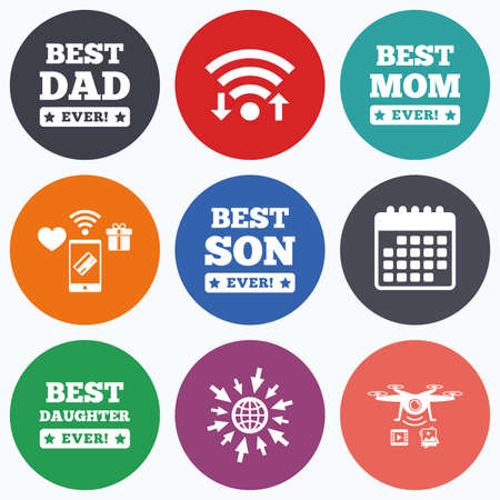 dad son: Wifi, mobile payments and drones icons. Best mom and dad, son and daughter icons. Awards with exclamation mark symbols. Calendar symbol.