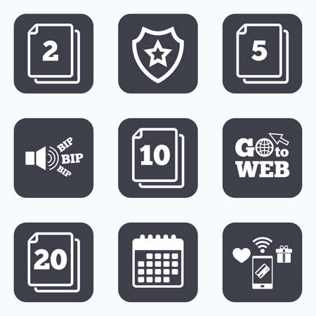 web 2: Mobile payments, wifi and calendar icons. In pack sheets icons. Quantity per package symbols. 2, 5, 10 and 20 paper units in the pack signs. Go to web symbol. Illustration