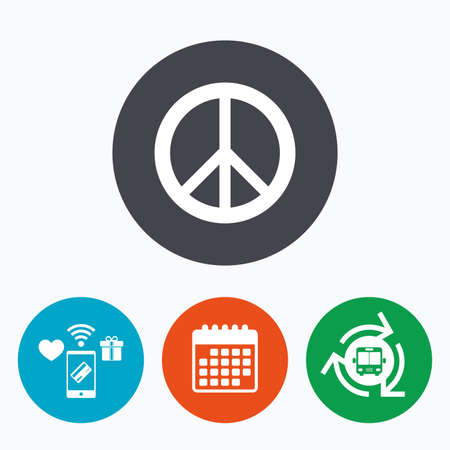 antiwar: Peace sign icon. Hope symbol. Antiwar sign. Mobile payments, calendar and wifi icons. Bus shuttle.