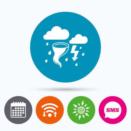 hurricane disaster: Wifi, Sms and calendar icons. Storm bad weather sign icon. Clouds with thunderstorm. Gale hurricane symbol. Destruction and disaster from wind. Insurance symbol. Go to web globe.