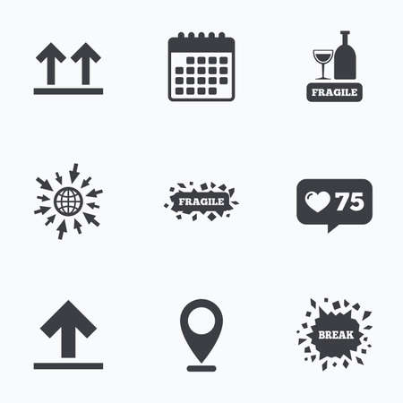 web side: Calendar, like counter and go to web icons. Fragile icons. Delicate package delivery signs. This side up arrows symbol. Location pointer. Illustration