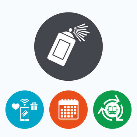 paint can: Graffiti spray can sign icon. Aerosol paint symbol. Mobile payments, calendar and wifi icons. Bus shuttle. Illustration