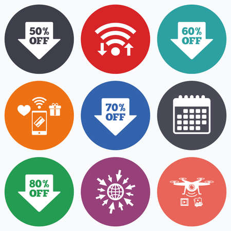 60 70: Wifi, mobile payments and drones icons. Sale arrow tag icons. Discount special offer symbols. 50%, 60%, 70% and 80% percent off signs. Calendar symbol.