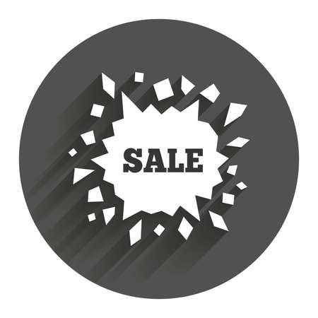 smashed paper: Sale icon. Cracked hole symbol. Circle flat button with shadow. Modern UI website navigation.