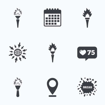 olympic game: Calendar, like counter and go to web icons. Torch flame icons. Fire flaming symbols. Hand tool which provides light or heat. Location pointer.