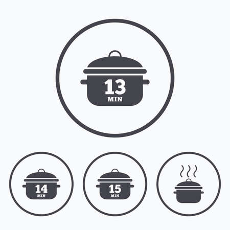 boil: Cooking pan icons. Boil 13, 14 and 15 minutes signs. Stew food symbol. Icons in circles.