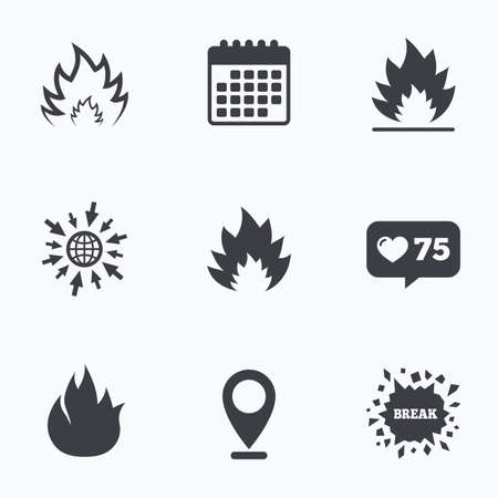 inflammable: Calendar, like counter and go to web icons. Fire flame icons. Heat symbols. Inflammable signs. Location pointer. Illustration