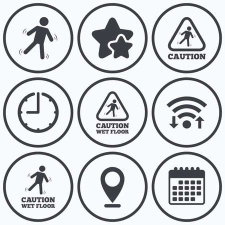 wet floor caution sign: Clock, wifi and stars icons. Caution wet floor icons. Human falling triangle symbol. Slippery surface sign. Calendar symbol.
