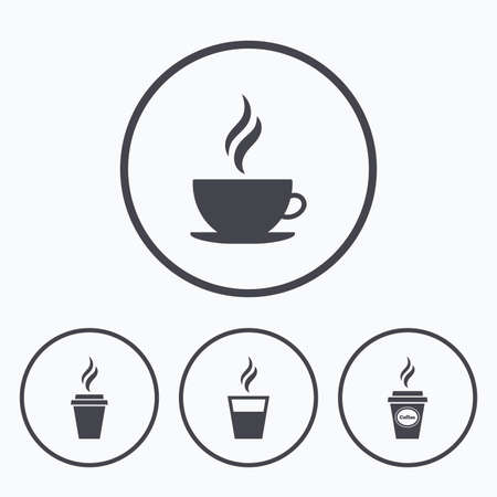 hot drinks: Coffee cup icon. Hot drinks glasses symbols. Take away or take-out tea beverage signs. Icons in circles. Illustration