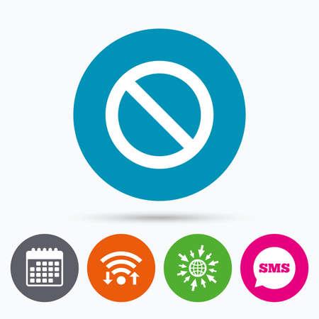 blacklist: Wifi, Sms and calendar icons. Blacklist sign icon. User not allowed symbol. Go to web globe. Illustration