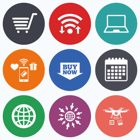 ultrabook: Wifi, mobile payments and drones icons. Online shopping icons. Notebook pc, shopping cart, buy now arrow and internet signs. WWW globe symbol. Calendar symbol. Illustration
