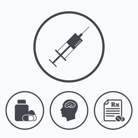 prescription bottle: Medicine icons. Medical tablets bottle, head with brain, prescription Rx and syringe signs. Pharmacy or medicine symbol. Icons in circles.