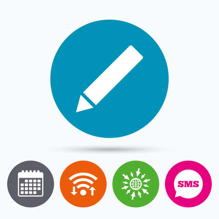 Wifi, Sms and calendar icons. Pencil sign icon. Edit content button. Go to web globe.