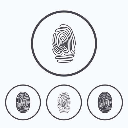 biometric: Fingerprint icons. Identification or authentication symbols. Biometric human dabs signs. Icons in circles. Illustration