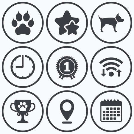 clutches: Clock, wifi and stars icons. Pets icons. Cat paw with clutches sign. Winner cup and medal symbol. Dog silhouette. Calendar symbol.