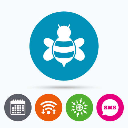 pollination: Wifi, Sms and calendar icons. Bee sign icon. Honeybee or apis with wings symbol. Flying insect. Go to web globe. Illustration