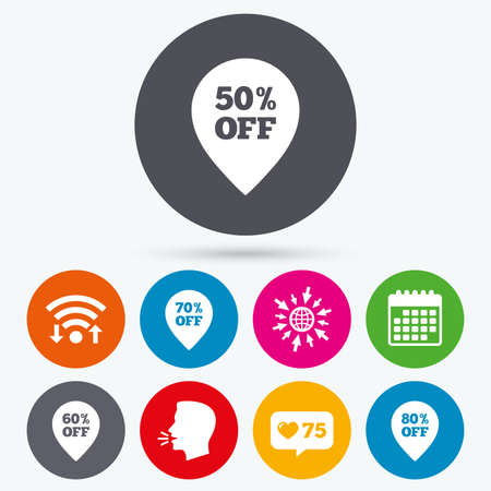 60 70: Wifi, like counter and calendar icons. Sale pointer tag icons. Discount special offer symbols. 50%, 60%, 70% and 80% percent off signs. Human talk, go to web.
