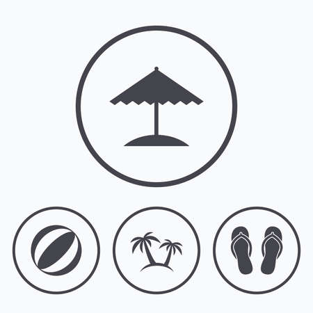 sandals: Beach holidays icons. Ball, umbrella and flip-flops sandals signs. Palm trees symbol. Icons in circles.