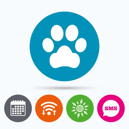 dog allowed: Wifi, Sms and calendar icons. Dog paw sign icon. Pets symbol. Go to web globe. Illustration