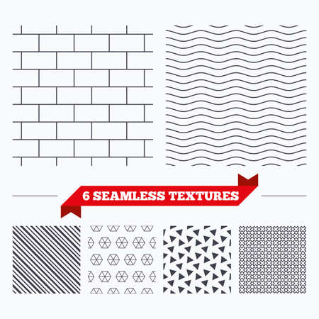 texturing: Diagonal lines, waves and geometry design. Bricks wall texture. Stripped geometric seamless pattern. Modern repeating stylish texture. Material patterns.