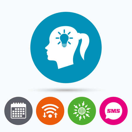 pigtail: Wifi, Sms and calendar icons. Head with lamp bulb sign icon. Female woman human head idea with pigtail symbol. Go to web globe. Illustration