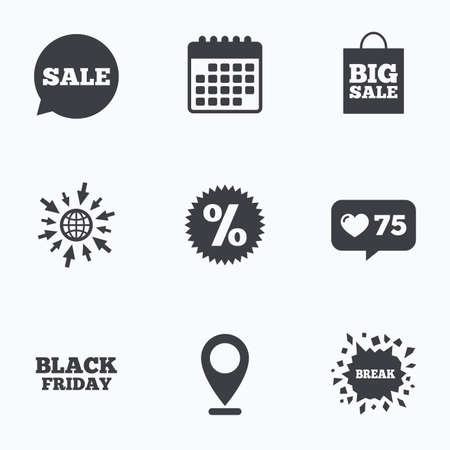 Calendar, like counter and go to web icons. Sale speech bubble icon. Discount star symbol. Black friday sign. Big sale shopping bag. Location pointer. Çizim