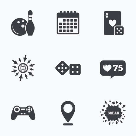 gambling counter: Calendar, like counter and go to web icons. Bowling and Casino icons. Video game joystick and playing card with dice symbols. Entertainment signs. Location pointer. Illustration