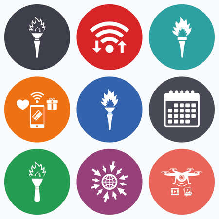 olympic game: Wifi, mobile payments and drones icons. Torch flame icons. Fire flaming symbols. Hand tool which provides light or heat. Calendar symbol.