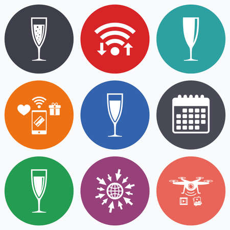 sparkling wine: Wifi, mobile payments and drones icons. Champagne wine glasses icons. Alcohol drinks sign symbols. Sparkling wine with bubbles. Calendar symbol.