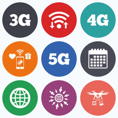 5g: Wifi, mobile payments and drones icons. Mobile telecommunications icons. 3G, 4G and 5G technology symbols. World globe sign. Calendar symbol.
