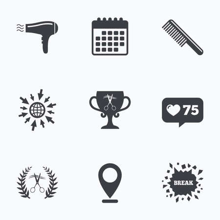 comb hair: Calendar, like counter and go to web icons. Hairdresser icons. Scissors cut hair symbol. Comb hair with hairdryer symbol. Barbershop laurel wreath winner award. Location pointer. Illustration