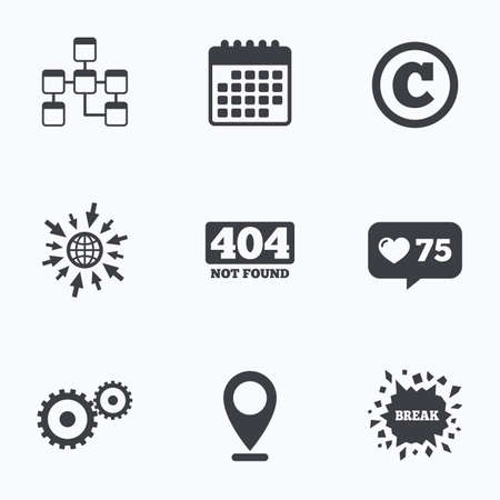 not found: Calendar, like counter and go to web icons. Website database icon. Copyrights and gear signs. 404 page not found symbol. Under construction. Location pointer.