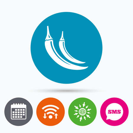 spicy: Wifi, Sms and calendar icons. Hot chili pepper sign icon. Spicy food symbol. Go to web globe. Illustration