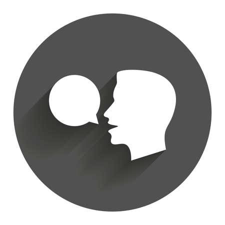 Parlez ou de parler icône. Discours symbole de bulle. signe talking humain. Cercle bouton plat avec ombre. Moderne site Web UI navigation.