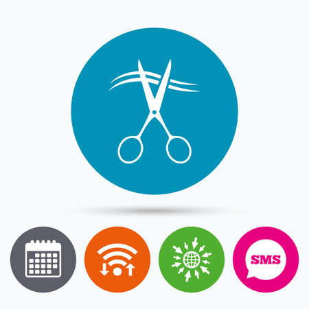 snip: Wifi, Sms and calendar icons. Scissors cut hair sign icon. Hairdresser or barbershop symbol. Go to web globe.
