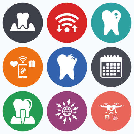 gingivitis: Wifi, mobile payments and drones icons. Dental care icons. Caries tooth sign. Tooth endosseous implant symbol. Parodontosis gingivitis sign. Calendar symbol.