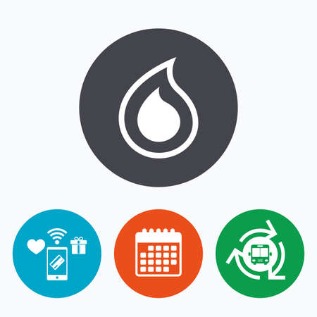 tear drop: Water drop sign icon. Tear symbol. Mobile payments, calendar and wifi icons. Bus shuttle.