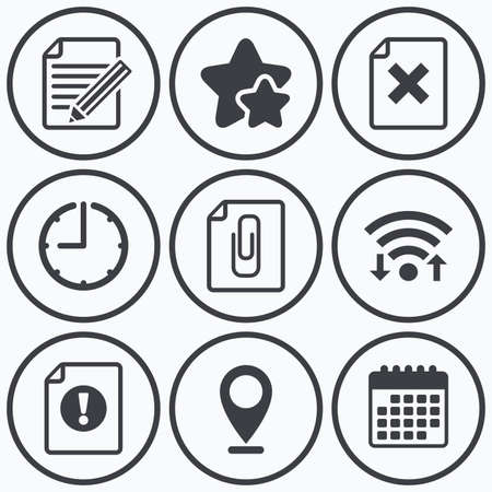 attach: Clock, wifi and stars icons. File attention icons. Document delete and pencil edit symbols. Paper clip attach sign. Calendar symbol.