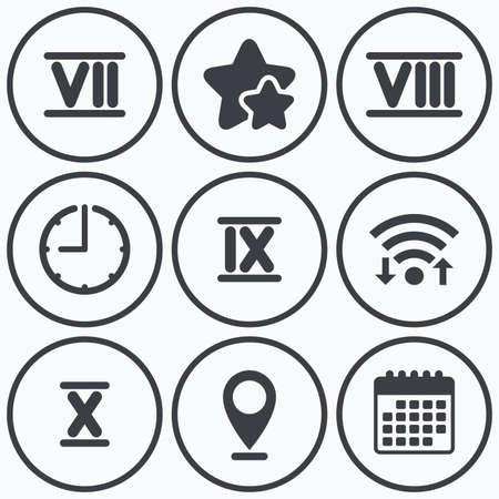 ancient roman: Clock, wifi and stars icons. Roman numeral icons. 7, 8, 9 and 10 digit characters. Ancient Rome numeric system. Calendar symbol.