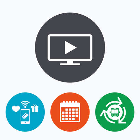 television set: Widescreen TV mode sign icon. Television set symbol. Mobile payments, calendar and wifi icons. Bus shuttle.
