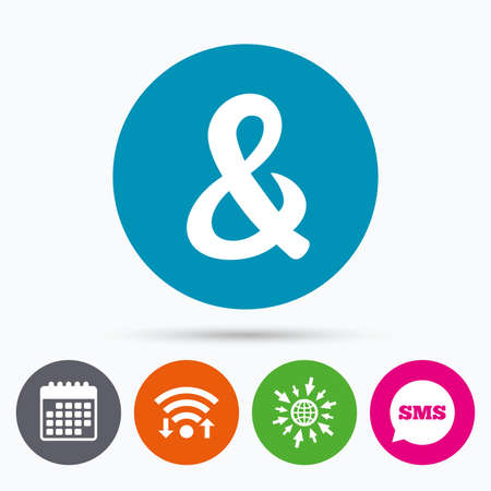 logical: Wifi, Sms and calendar icons. Ampersand sign icon. Programming logical operator AND. Wedding invitation symbol. Go to web globe. Illustration