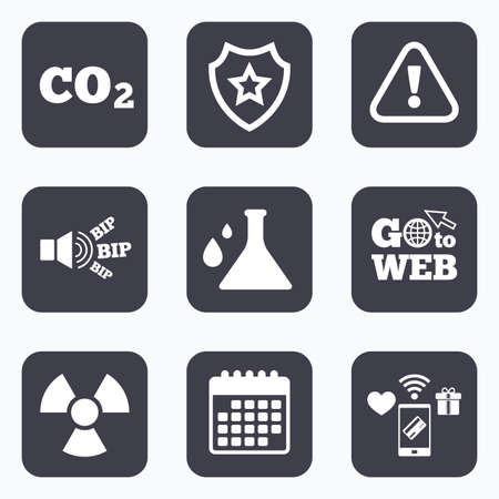 danger carbon dioxide  co2  labels: Mobile payments, wifi and calendar icons. Attention and radiation icons. Chemistry flask sign. CO2 carbon dioxide symbol. Go to web symbol. Illustration